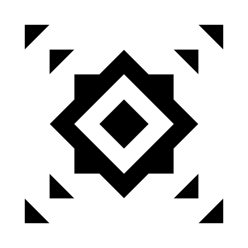 Example of a symmetric abstract black-and-white pattern