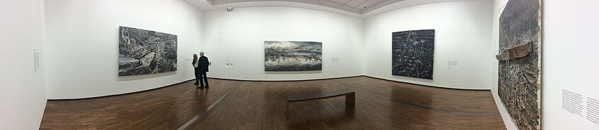 panorama picture of an art exhibition in the museum